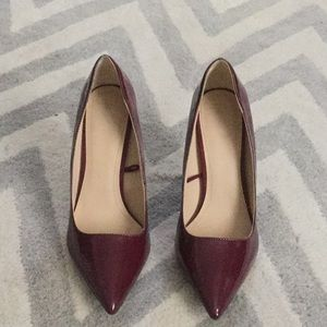Zara pointy toe patent with suede heel